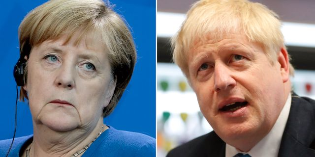 Angela Merkel och Boris Johnson.  TT.