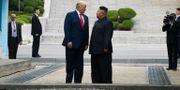 Donald  och Kim Jong-Un vid ledarnas korta möte i juni Susan Walsh / TT NYHETSBYRÅN/ NTB Scanpix