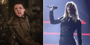 Arya Stark, spelad av Maisie Williams (t v), Taylor Swift (t h). TT