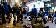 Demonstranter grips av polis. Vincent Yu / TT NYHETSBYRÅN