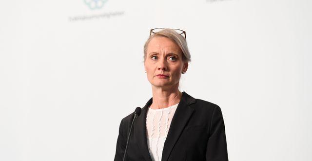 Karin Tegmark Wisell på dagens pressträff.  Erik Simander/TT / TT NYHETSBYRÅN