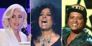 Lady Gaga, Diana Ross och Bruno Mars. TT