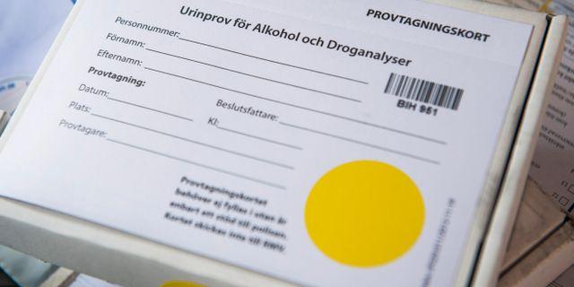 Provtagningskort för urinprov för alkohol- och droganalyser. Arkivbild. Claudio Bresciani/TT / TT NYHETSBYRÅN