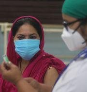 Sjukvårdare i Mumbai väntar på att vaccineras, 19 januari. Rafiq Maqbool / TT NYHETSBYRÅN