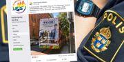 En polis som kandiderar till riksdagen för partiet Medborgerlig samling har poserat iklädd sin uniform på valaffischer som har visats på turistbussar i Stockholm.  TT / Medborgerlig samlings Facebook-sida.