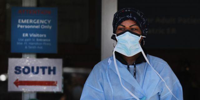 Sjukvårdspersonal vid Maimonides Medical Center i Brooklyn, New York. SPENCER PLATT / TT NYHETSBYRÅN