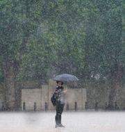 En kvinna skyddar sig från regnet under ett paraply. Victoria Jones / TT NYHETSBYRÅN