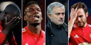Unitedspelare och José Mourinho deppar efter förlusten. TT