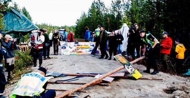 Protester i samband med provbrytningar i Kallak väster om Jokkmokk. TT / TT NYHETSBYRÅN