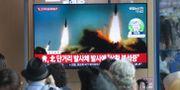 Människor på en järnvägstation i Seoul tittar på bilder av de nordkoreanska avfyrningarna  Ahn Young-joon / TT NYHETSBYRÅN/ NTB Scanpix