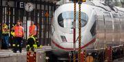 Centralstationen i Frankfurt var avspärrad efter händelsen.  AP Photo/Michael Probst / TT NYHETSBYRÅN/ NTB Scanpix