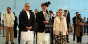Ashraf Ghani i mitten talar till journalister i slutet av september. Rahmat Gul / TT NYHETSBYRÅN