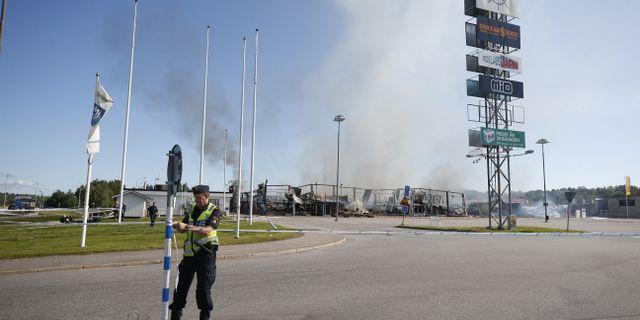 Brand i en färgaffär i Norrtälje Fredrik Persson/TT / TT NYHETSBYRÅN