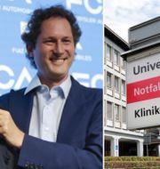 Marchionne och Elkann i juni. Sjukhuset i Schweiz där Marchionne vårdas.  TT