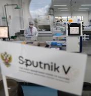 Tester med Rysslands vaccin Sputnik V genomförs i Brasiliens huvudstad Brasilia den 25 januari. Till höger Vladimir Putin. TT