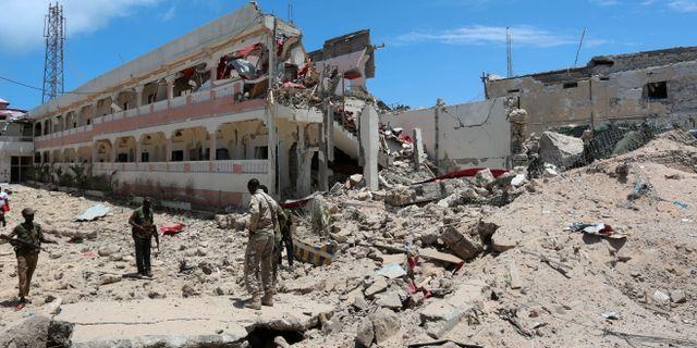 Delar av hotellet förstördes i attacken.  Feisal Omar / TT NYHETSBYRÅN