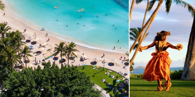 Sol och bad på Waikiki Beach och huladans är två dragplåster på Hawaii. Thinkstock