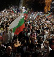Demonstranter utanför parlamentet igår kväll. Valentina Petrova / TT NYHETSBYRÅN