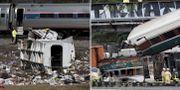Bilder från de två tidigare olyckorna med Amtrak-tåg.  TT
