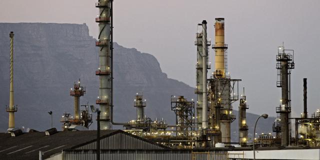 Illustrationsbild. Raffinaderi i Sydafrika.  TT