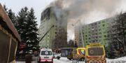Det brinner kraftigt i byggnaden. HO / Slovak Police