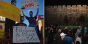 Protester efter Iyad al-Hallaqs död/Begravningståget.  TT