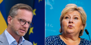 Mikael Damberg/Erna Solberg (Arkivbild).  TT