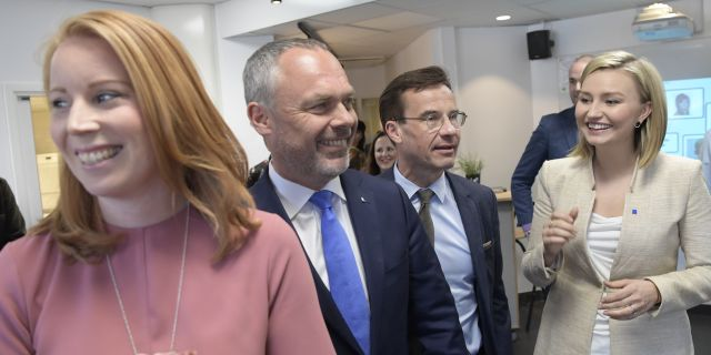 Alliansens partiledare fr v Annie Lööf (C), Jan Björklund (L), Ulf Kristersson (M), Ebba Busch Thor (KD). Henrik Montgomery/TT / TT NYHETSBYRÅN