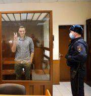 Navalnyj i rätten på lördagen. Alexander Zemlianichenko / TT NYHETSBYRÅN