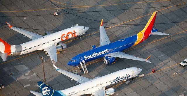 Arkivbild: Parkerade 737 Max-plan vid Boeings anläggning vid Grant County-flygplatsen i Washington, USA. Lindsey Wasson / TT NYHETSBYRÅN