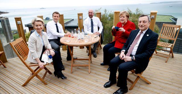 Ursula von der Leyen, Emmanuel Macron, Charles Michel, Angela Merkel och Mario Draghi vid G7-mötet i juni. Phil Noble / TT NYHETSBYRÅN