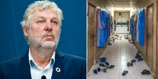 Biståndsminister Peter Eriksson och en korridor i en kasern där migrantarbetare arbetar i Doha.  TT