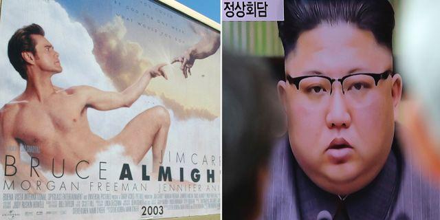 Filmaffisch från Bruce Almighty / Nordkoreas ledare Kim Jong-Un. TT