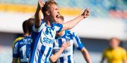 Benjamin Nygren jublar efter 2–0. MICHAEL ERICHSEN / BILDBYRÅN