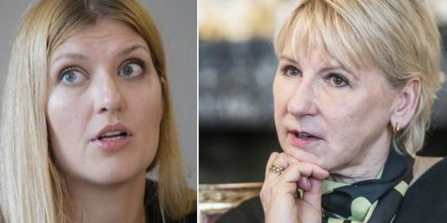 Beatrice Fihn, ordförande Ican, samt Margot Wallström, utrikesminister.  TT