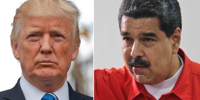 Donald Trump och Nicolás Maduro. TT