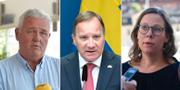 Centerpartiets vikarierande partiledare Anders W Jonsson, statsminister Stefan Löfven och Moderaternas migrationspolitiska talesperson Maria Malmer Stenergard.  TT