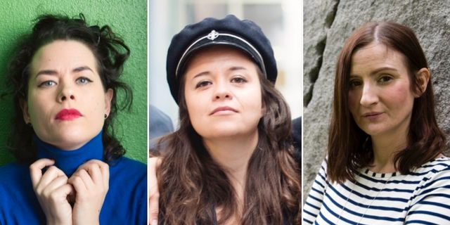 Liv Strömquist, Caroline Ringskog Ferrade-Noli och Birgitta Ohlsson. TT