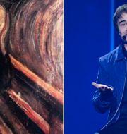Edvard Munchs konstverk Skriet/Alexander Rybak under genrepet till den andra semifinalen i Eurovision Song Contest.  TT