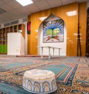 Bilder inifrån moskén som Manshaus attackerade. Heiko Junge / TT NYHETSBYRÅN