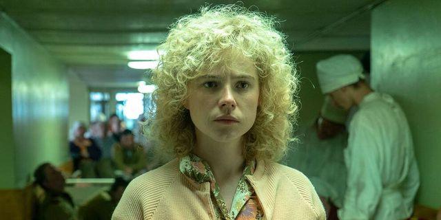 Jessie Buckley som Ljudmila Ignatenko i Chernobyl. HBO