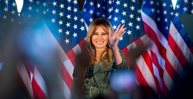 Melania Trump under talet i Pennsylvania.  Laurence Kesterson / TT NYHETSBYRÅN
