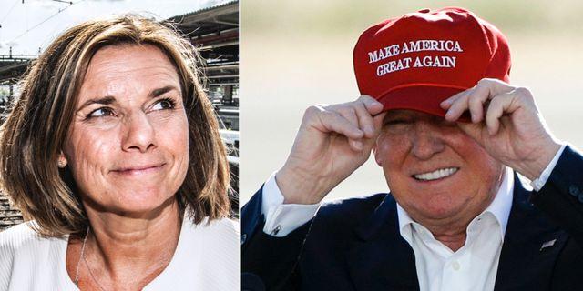 Isabella Lövin och Donald Trump.  TT