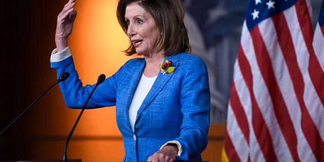 Nancy Pelosi på pressträffen. Susan Walsh / TT NYHETSBYRÅN