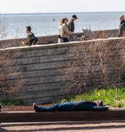 En plats i solen vid Sundspromenaden i Västra Hamnen i Malmö när vårsolen värmde på söndagen. Johan Nilsson/TT / TT NYHETSBYRÅN