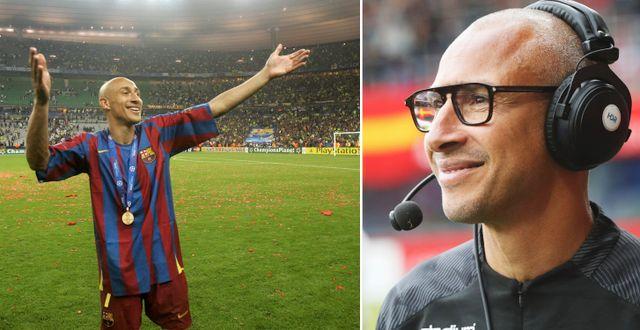 Larsson vid Barcelonas Champions League-vinst 2006 och i dag. TT