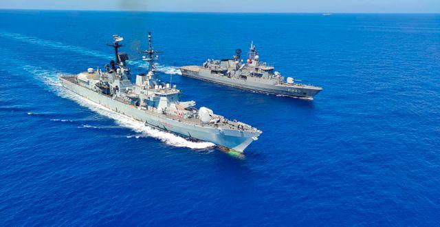 Italienska krigsskepp som ska delta i övningen. TT NYHETSBYRÅN