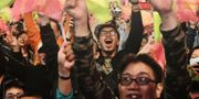 Anhängare till Tsai Ing-wen jublar. SAM YEH / AFP