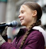Greta Thunberg på en klimatdemonstration i Lausanne, Schweiz, i januari 2020.  PIERRE ALBOUY / TT NYHETSBYRÅN