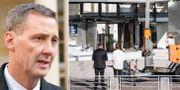 Nick Hækkerup/bild efter explosionen vid Skattestyrelsen i Köpenhamn.  TT.
